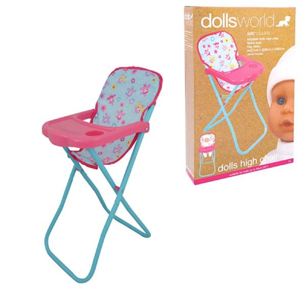 Dolls World 8205 Deluxe Toy Dolls High Chair Suitable For Dolls Up To 56cm